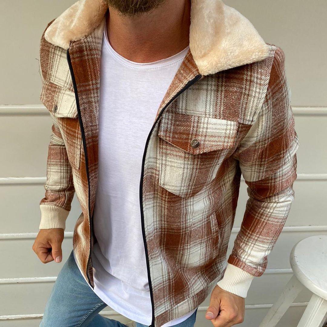 Рremium quality Мужская демисезонная удлиненная куртка без капюшона коричневый в клетку.Мужская ветровка осень
