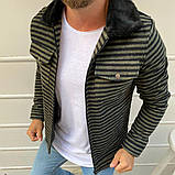 Рremium quality Мужская демисезонная удлиненная куртка без капюшона коричневый в клетку.Мужская ветровка осень, фото 2