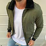 Рremium quality Мужская демисезонная удлиненная куртка без капюшона коричневый в клетку.Мужская ветровка осень, фото 3