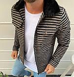 Рremium quality Мужская демисезонная удлиненная куртка без капюшона коричневый в клетку.Мужская ветровка осень, фото 4