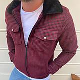 Рremium quality Мужская демисезонная удлиненная куртка без капюшона коричневый в клетку.Мужская ветровка осень, фото 5