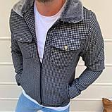 Рremium quality Мужская демисезонная удлиненная куртка без капюшона коричневый в клетку.Мужская ветровка осень, фото 6