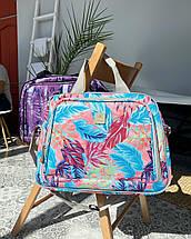 Сумка ручная кладь с резинкой на чемодан фиолетовая  / бьюти кейс, фото 3