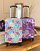 Сумка ручная кладь с резинкой на чемодан фиолетовая  / бьюти кейс, фото 5