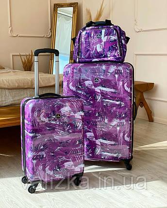 Сумка ручная кладь с резинкой на чемодан фиолетовая  / бьюти кейс, фото 2