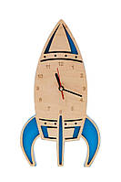 Детские деревянные часы дизайнерские интерьер Ракета Ручная Работа ТМ Просто и Легко 30на17на3 см SKL12-265763