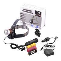 УФ фонарь на голову 12V 6810-UV 365 nm, для туристов, геологов, охотников, криминалистов
