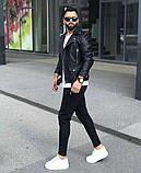Premium quality Мужскаячерная короткая кожаная куртка ветровка осень/весна.Мужская кожанка Косуха черная, фото 2