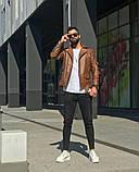 Premium quality Мужскаячерная короткая кожаная куртка ветровка осень/весна.Мужская кожанка Косуха черная, фото 3