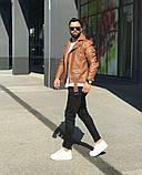 Premium quality Мужскаячерная короткая кожаная куртка ветровка осень/весна.Мужская кожанка Косуха черная, фото 4
