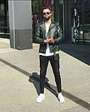 Premium quality Мужскаячерная короткая кожаная куртка ветровка осень/весна.Мужская кожанка Косуха черная, фото 5
