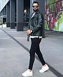 Premium quality Мужскаячерная короткая кожаная куртка ветровка осень/весна.Мужская кожанка Косуха черная, фото 6