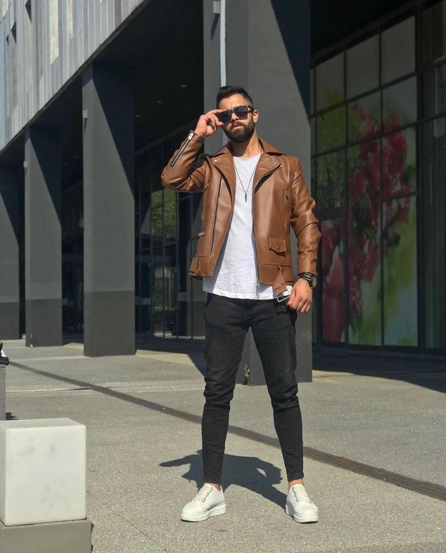 Premium quality Мужская коричневая короткая кожаная куртка ветровка осень.Мужская кожанка Косуха коричневая