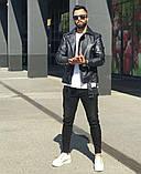 Premium quality Мужская коричневая короткая кожаная куртка ветровка осень.Мужская кожанка Косуха коричневая, фото 3