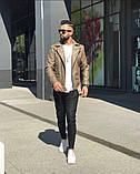 Premium quality Мужская коричневая короткая кожаная куртка ветровка осень.Мужская кожанка Косуха коричневая, фото 5