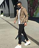 Premium quality Мужская коричневая короткая кожаная куртка ветровка осень.Мужская кожанка Косуха коричневая, фото 6