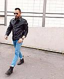 Premium quality Мужская черная короткая кожаная куртка ветровка демисезонная Мужская кожанка Косуха осень, фото 2
