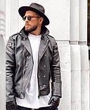 Premium quality Мужская черная короткая кожаная куртка ветровка демисезонная Мужская кожанка Косуха осень, фото 3