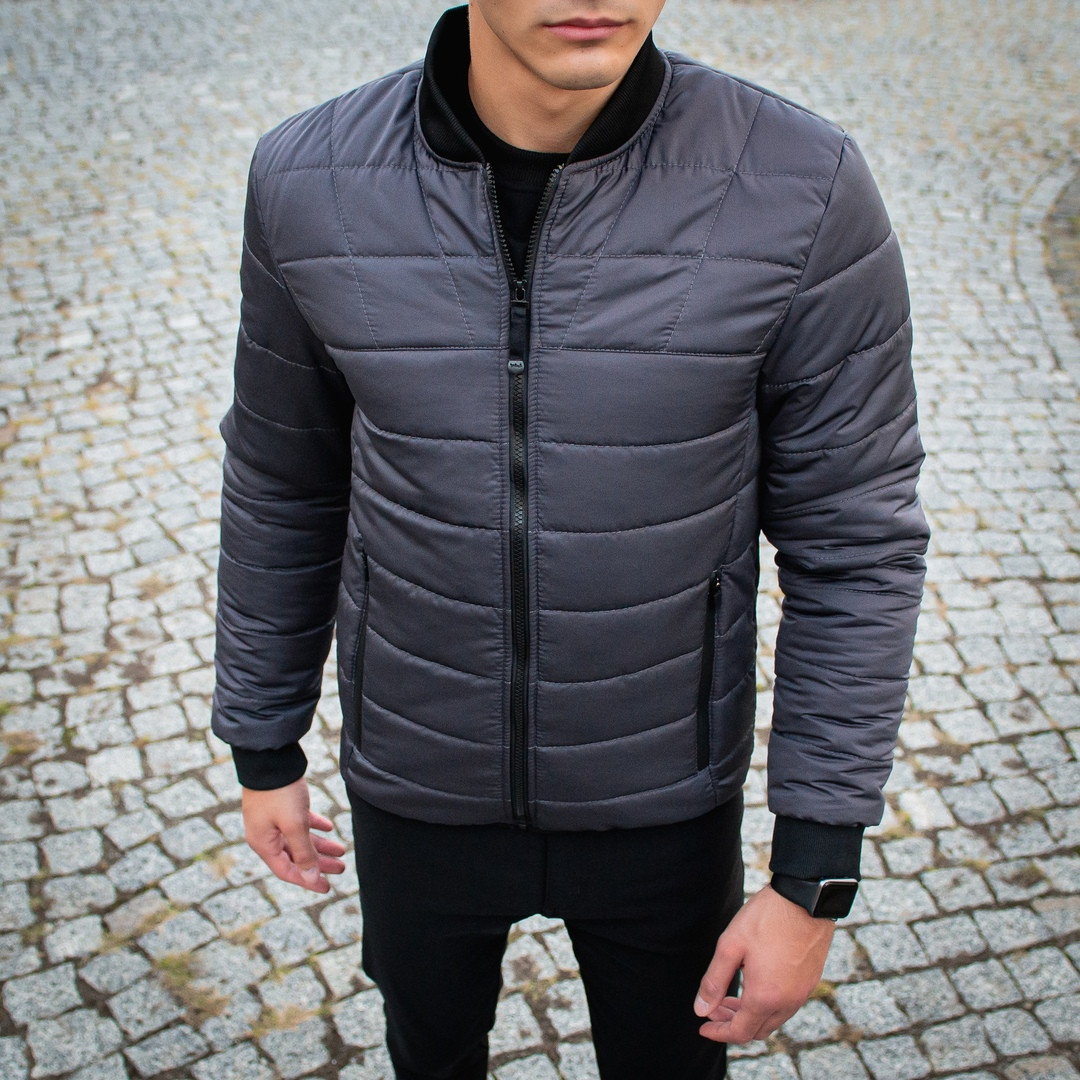 Мужская серая короткая стеганая куртка ветровка демисезонная. Мужской бомбер серый осень