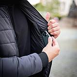 Мужская серая короткая стеганая куртка ветровка демисезонная. Мужской бомбер серый осень, фото 2