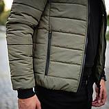 Мужская серая короткая стеганая куртка ветровка демисезонная. Мужской бомбер серый осень, фото 4