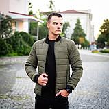 Мужская серая короткая стеганая куртка ветровка демисезонная. Мужской бомбер серый осень, фото 5