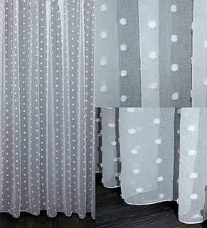 "Тюль лен,  ""Горошок"" (3х2,5) цвет белый. Код 632т 40-294, фото 2"