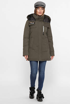 Приталенная женская куртка на пухе, цвет хаки,  размер от S до 2XL, фото 2
