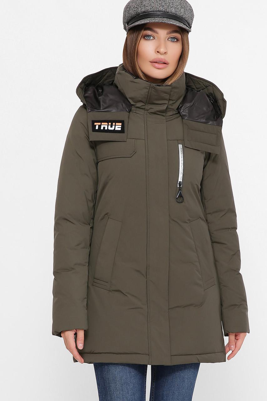 Приталенная женская куртка на пухе, цвет хаки,  размер от S до 2XL