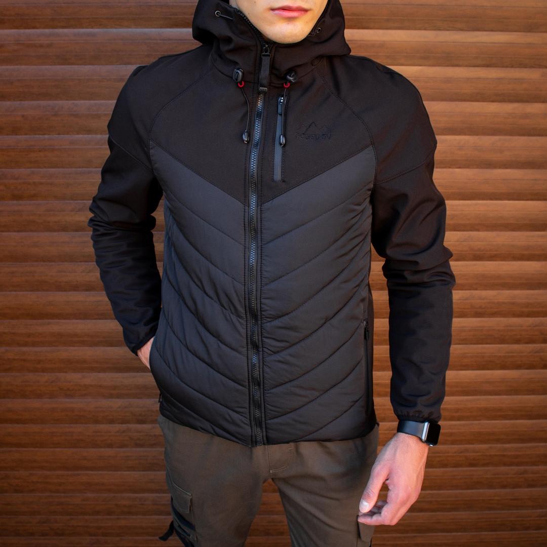 Pobedov Мужская удлененая ветровка куртка черная с капюшоном весна/осень.Мужская плащевка удлиненное черное