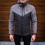 Pobedov Мужская удлененая ветровка куртка черная с капюшоном весна/осень.Мужская плащевка удлиненное черное, фото 5