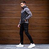 Pobedov Мужская удлененая ветровка куртка черная с капюшоном весна/осень.Мужская плащевка удлиненное черное, фото 6