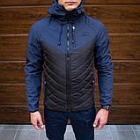 Pobedov Мужская удлененая ветровка куртка черная с капюшоном весна/осень.Мужская плащевка удлиненное черное, фото 7