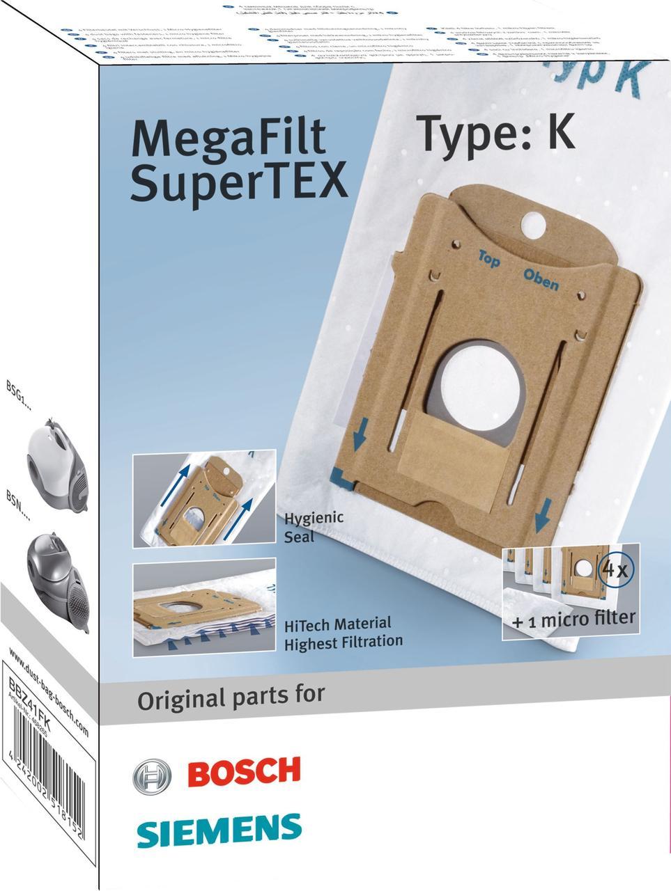 Набір мішків мікроволокно Type K + фільтр BBZ41FK для пилососа Bosch, Siemens 00468265