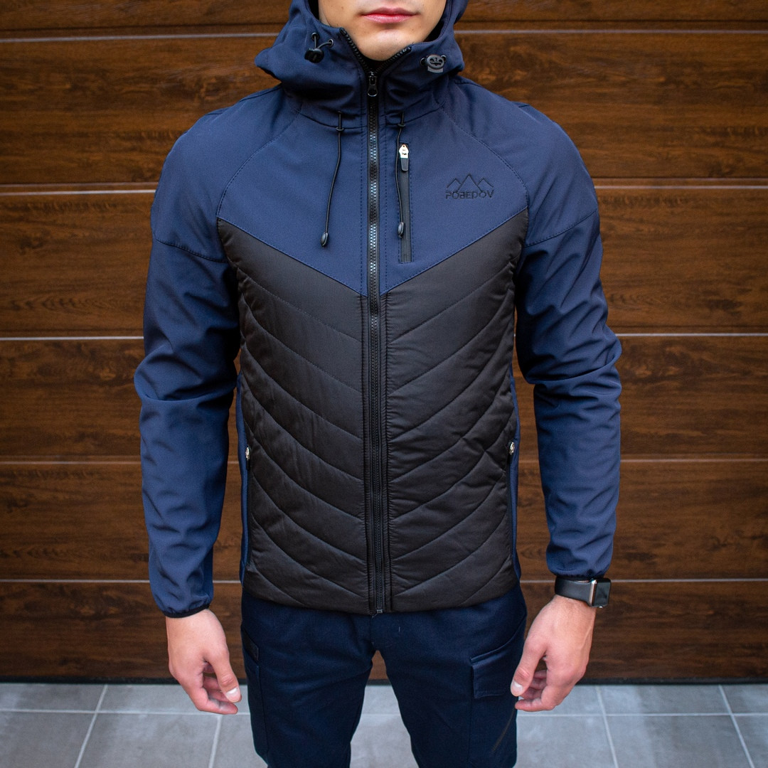 Pobedov Мужская удлененая ветровка куртка синяя с капюшоном осень.Мужская плащевка удлиненная синяя спорт