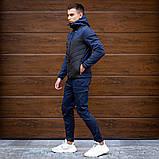 Pobedov Мужская удлененая ветровка куртка синяя с капюшоном осень.Мужская плащевка удлиненная синяя спорт, фото 2