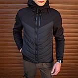 Pobedov Мужская удлененая ветровка куртка синяя с капюшоном осень.Мужская плащевка удлиненная синяя спорт, фото 7