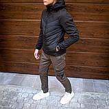 Pobedov Мужская удлененая ветровка куртка синяя с капюшоном осень.Мужская плащевка удлиненная синяя спорт, фото 8