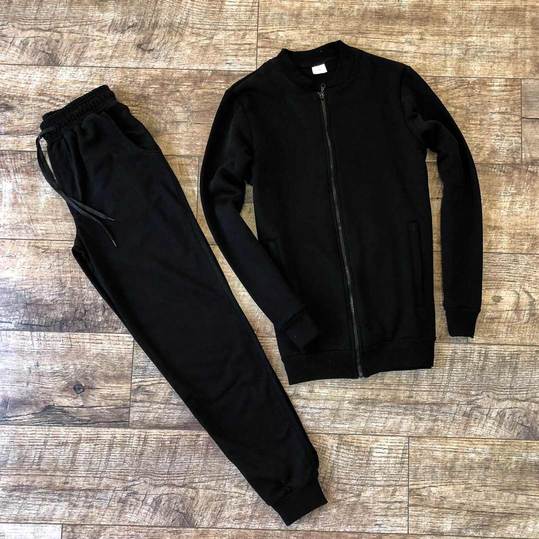 Мужской спортивный костюм черный осень/весна.Кофта черная +штаны черные комплект