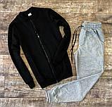 Мужской спортивный костюм черный осень/весна.Кофта черная +штаны черные комплект, фото 2