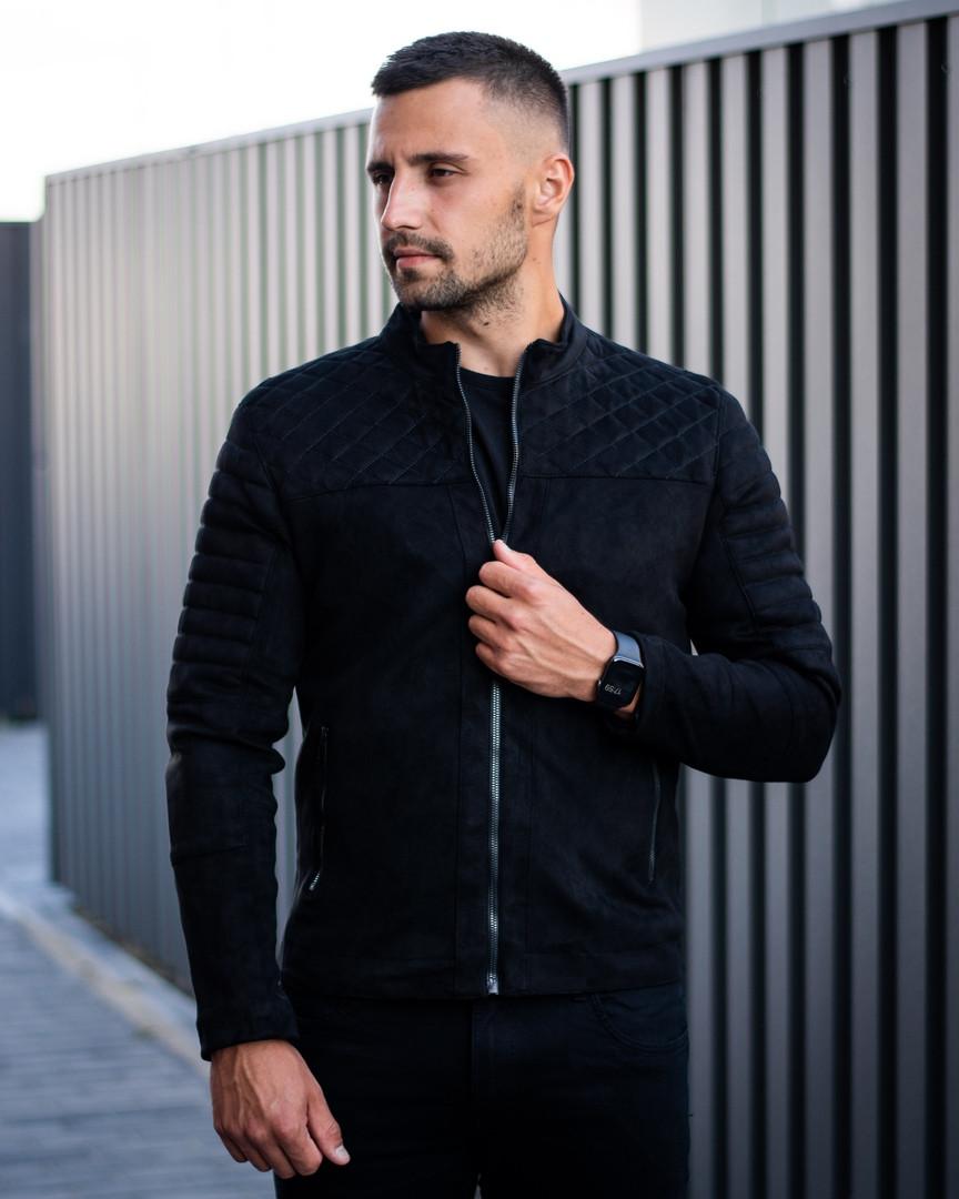 Сан Марино Мужская черная замшевая короткая стеганая куртка ветровка демисезонная.Мужской черный бомбер осень