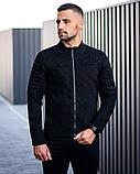 Сан Марино Мужская черная замшевая короткая стеганая куртка ветровка демисезонная.Мужской черный бомбер осень, фото 2