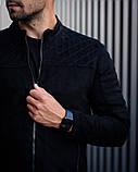 Сан Марино Мужская черная замшевая короткая стеганая куртка ветровка демисезонная.Мужской черный бомбер осень, фото 4