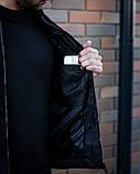 Сан Марино Мужская черная замшевая короткая стеганая куртка ветровка демисезонная.Мужской черный бомбер осень, фото 5