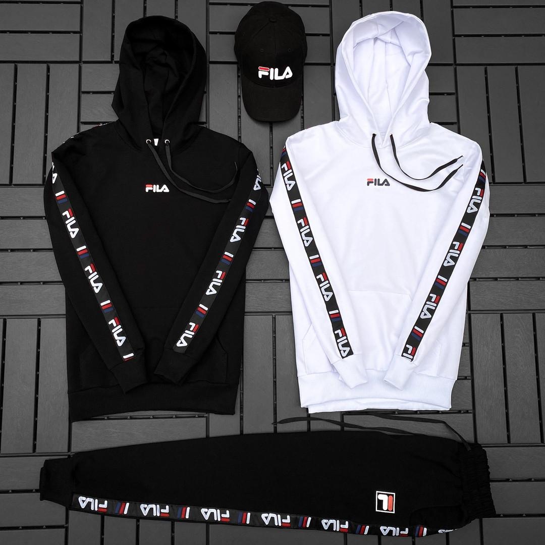 Fila Мужской спортивный черный костюм осень с капюшоном.Fila Кенгуру черное+кенгуру белое+штаны черные + кепка