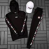 Fila Мужской спортивный черный костюм осень с капюшоном.Fila Кенгуру черное+кенгуру белое+штаны черные + кепка, фото 2