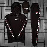 Fila Мужской спортивный черный костюм осень с капюшоном.Fila Кенгуру черное+кенгуру белое+штаны черные + кепка, фото 3