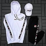 Fila Мужской спортивный черный костюм осень с капюшоном.Fila Кенгуру черное+кенгуру белое+штаны черные + кепка, фото 4