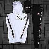 Fila Мужской спортивный черный костюм осень с капюшоном.Fila Кенгуру черное+кенгуру белое+штаны черные + кепка, фото 5