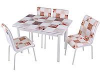 """Раскладной стол обеденный кухонный комплект стол и стулья 3D 3д """"Коричневые квадраты"""" стекло 70*110 Mobilgen, фото 1"""
